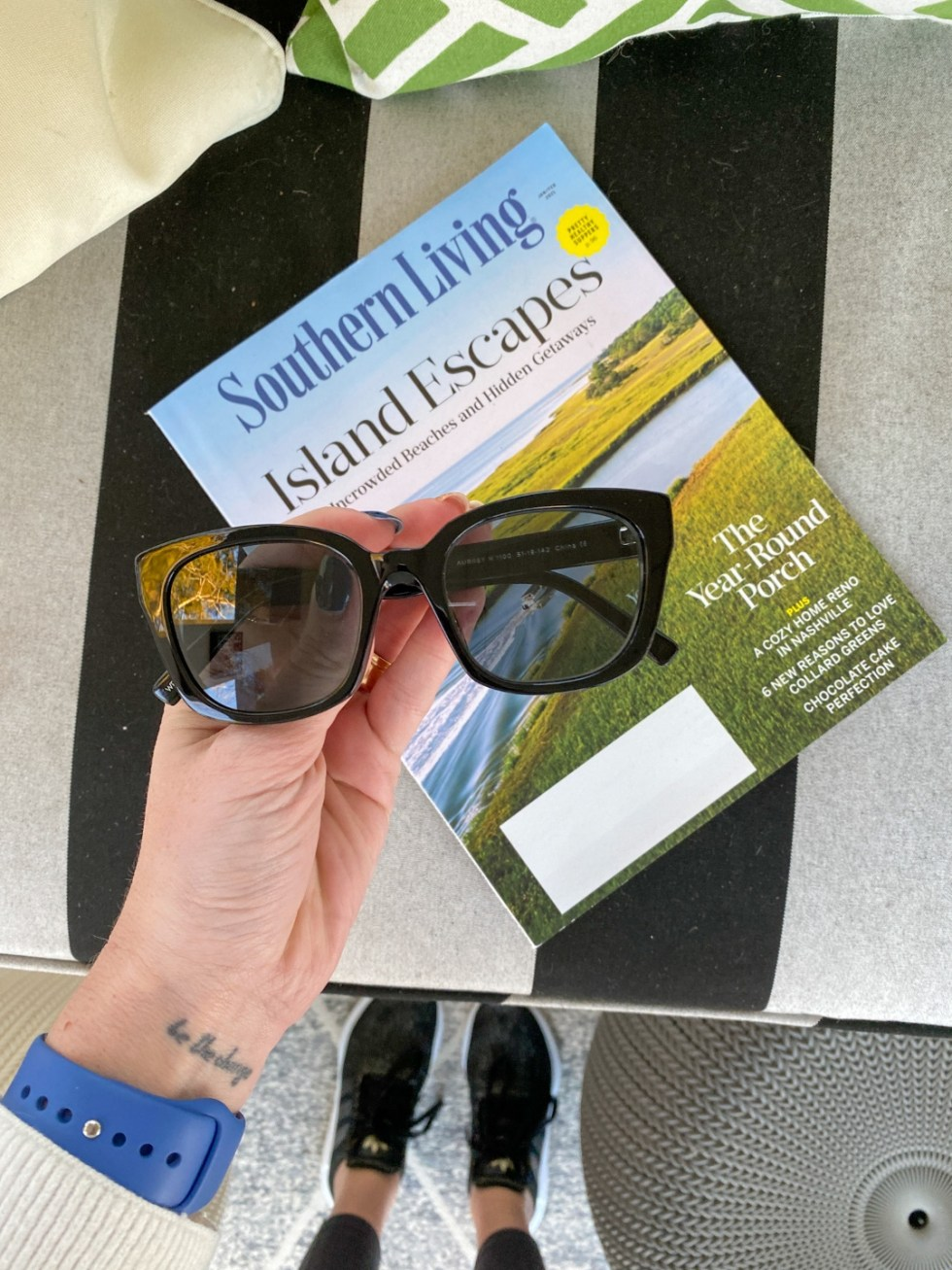 See With Style: Warby Parker Eye Glasses - I'm Fixin' To - @imfixintoblog |Warby Parker Eye Glasses by popular NC fashion blog, I'm Fixin' To: image of a pair of Warby Parker sunglasses resting on top of a Southern Living magazine.