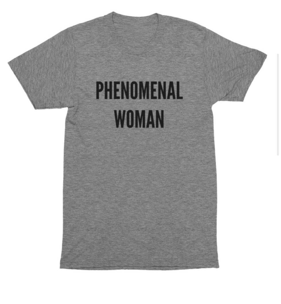 Women Owned Businesses by popular NC lifestyle blog, I'm Fixin' To: image of a Phenomenal Woman grey t-shirt.