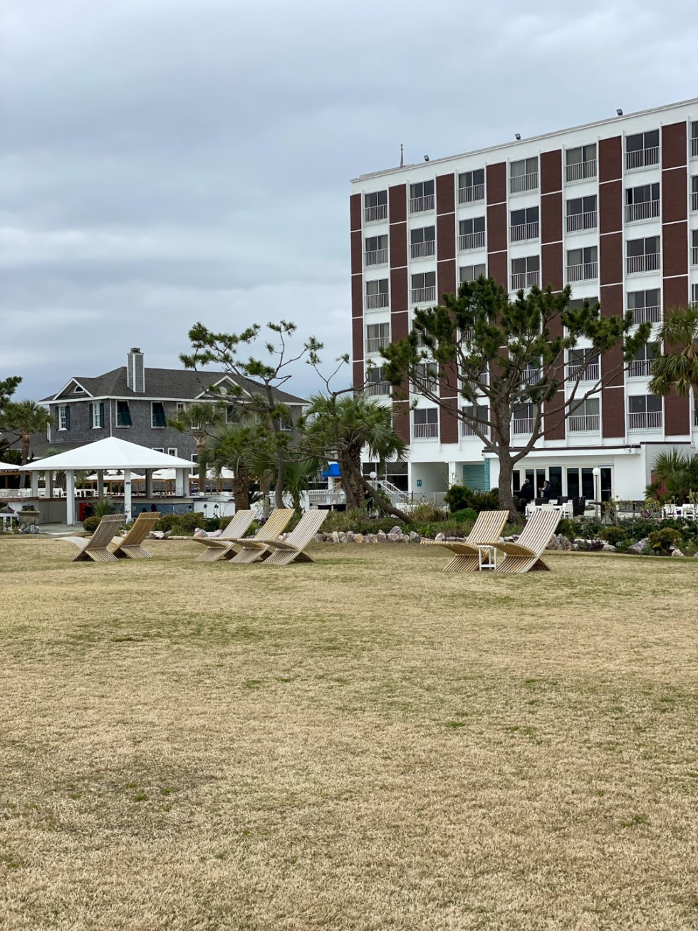 A Spring Weekend in Wilmington, NC: the Best Things to Do - I'm Fixin' To - @imfixintoblog |Weekend in Wilmington by popular NC travel blog, I'm Fixin' To: image of wooden lounge chairs on the grass.