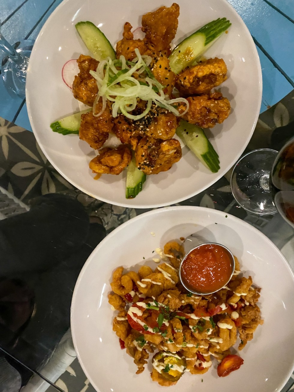 Weekend in Wilmington by popular NC travel blog, I'm Fixin' To: image of fried oysters.