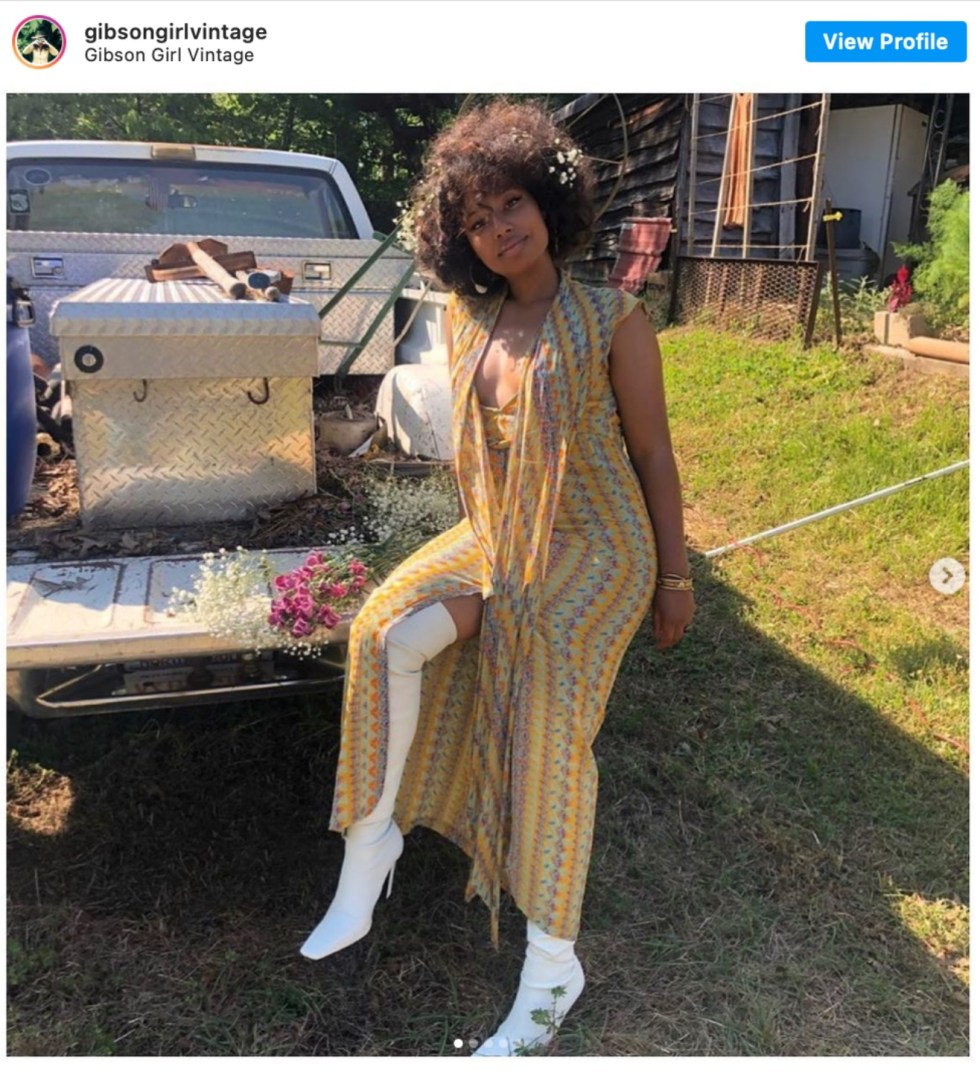 Durham Shopping: Top 11 Best Fashion Boutiques to visit After a Year of Quarantine - I'm Fixin' To - @imfixintoblog | Durham Shopping by popular NC lifestyle blog, I'm Fixin' To: image of a woman wearing white thigh high boots and a vintage outfit.