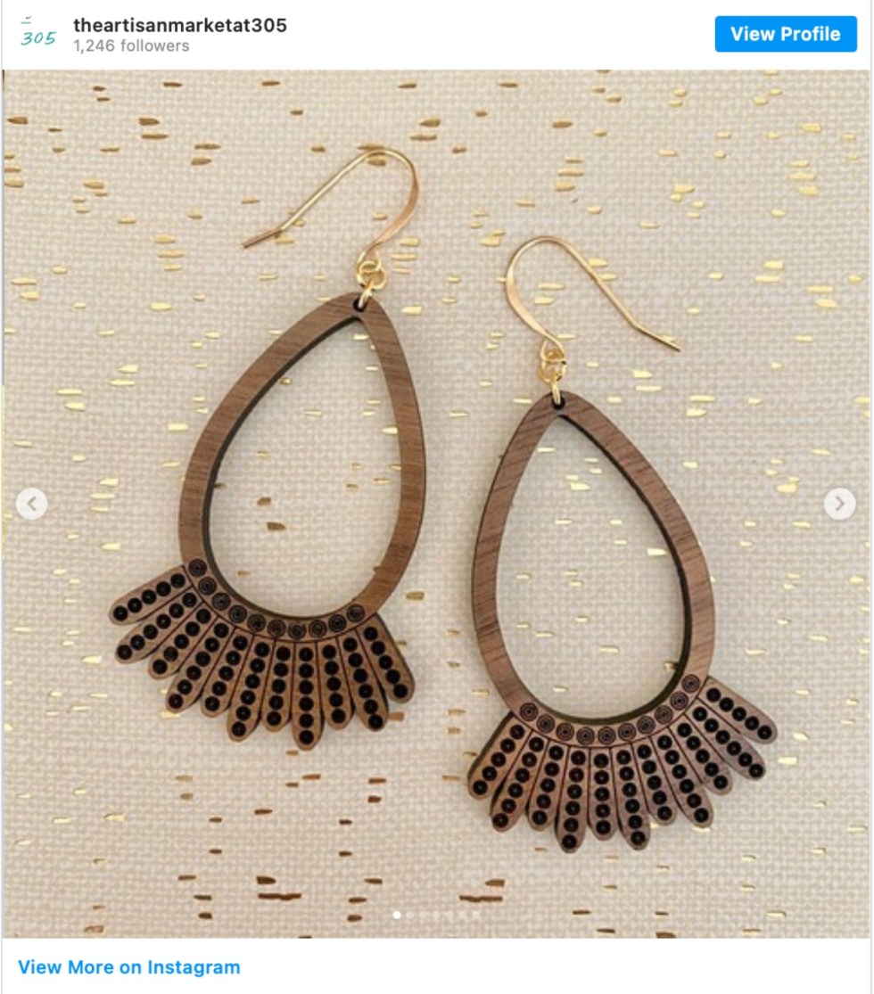 Durham Shopping: Top 11 Best Fashion Boutiques to visit After a Year of Quarantine - I'm Fixin' To - @imfixintoblog | Durham Shopping by popular NC lifestyle blog, I'm Fixin' To: image of wooden statement earrings.