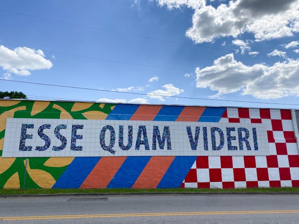 Franklin County NC by popular North Carolina travel blog, I'm Fixin' To: image of a esse quam videri wall mural.