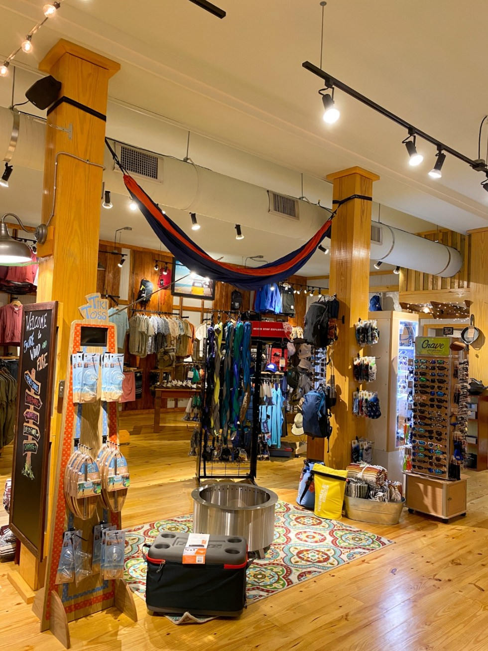 Top 10 Best Things to Do in Edenton, NC: A Complete Travel Guide - I'm Fixin' To - @imfixintoblog | Edenton Travel Guide by popular NC travel guid, I'm Fixin' To: image of a store filled with camping gear.