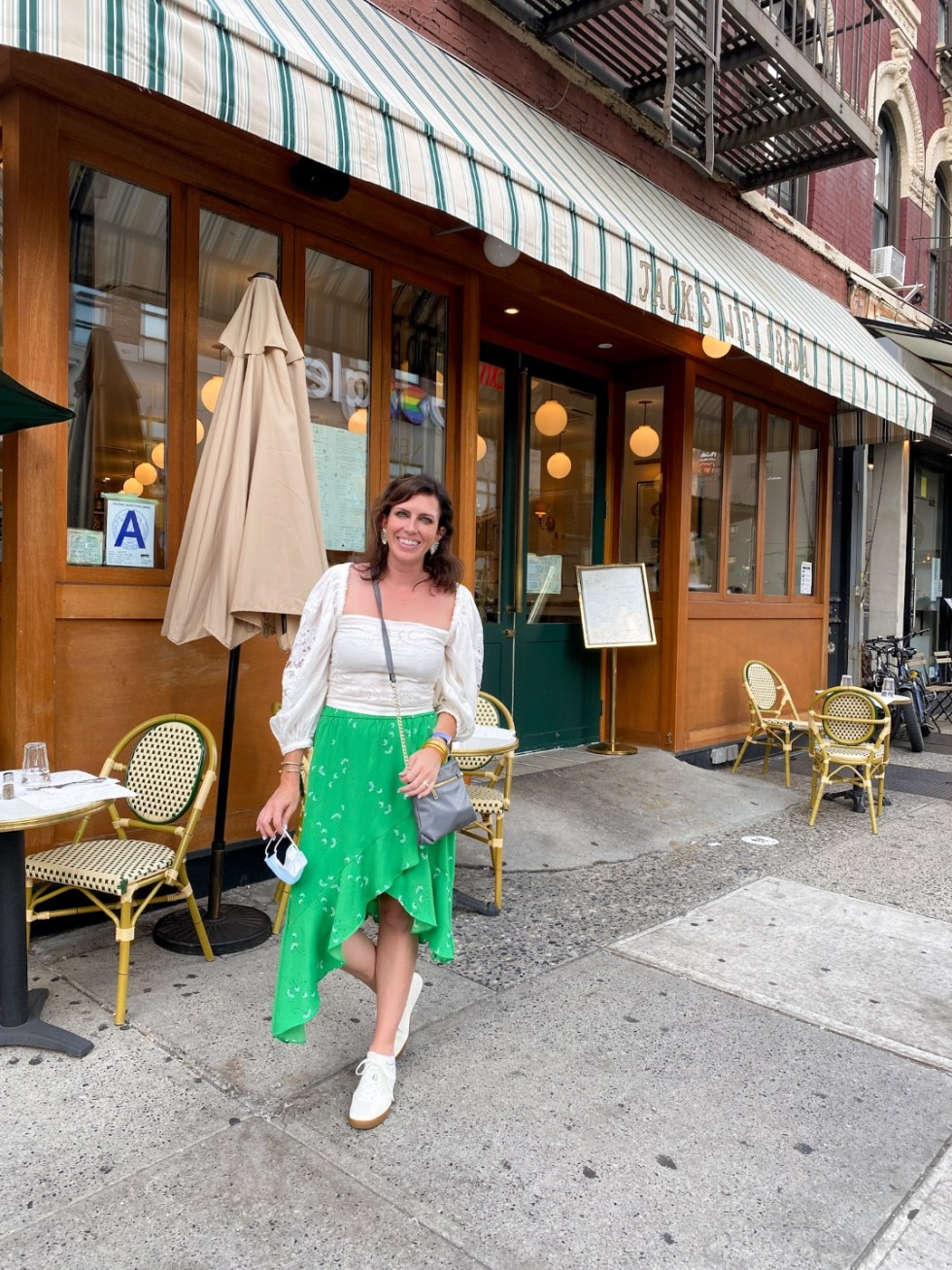 NYC Summer Weekend: Things to Do in NYC in the Summer - I'm Fixin' To - @imfixintoblog   NYC Summer Weekend by popular NC travel blog, I'm Fixin' To: image of a woman standing in front of Jack's Wife Freda restaurant.