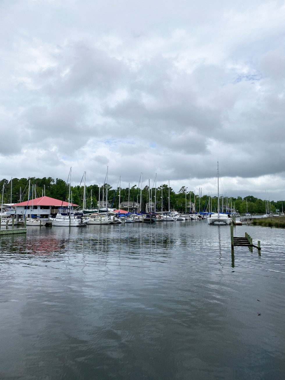What to Do in Oriental, NC - I'm Fixin' To - @imfixintoblog | Things to do in Oriental NC by popular NC travel blog, I'm Fixin' To: image of a Oriental NC marina filled with sail boats.