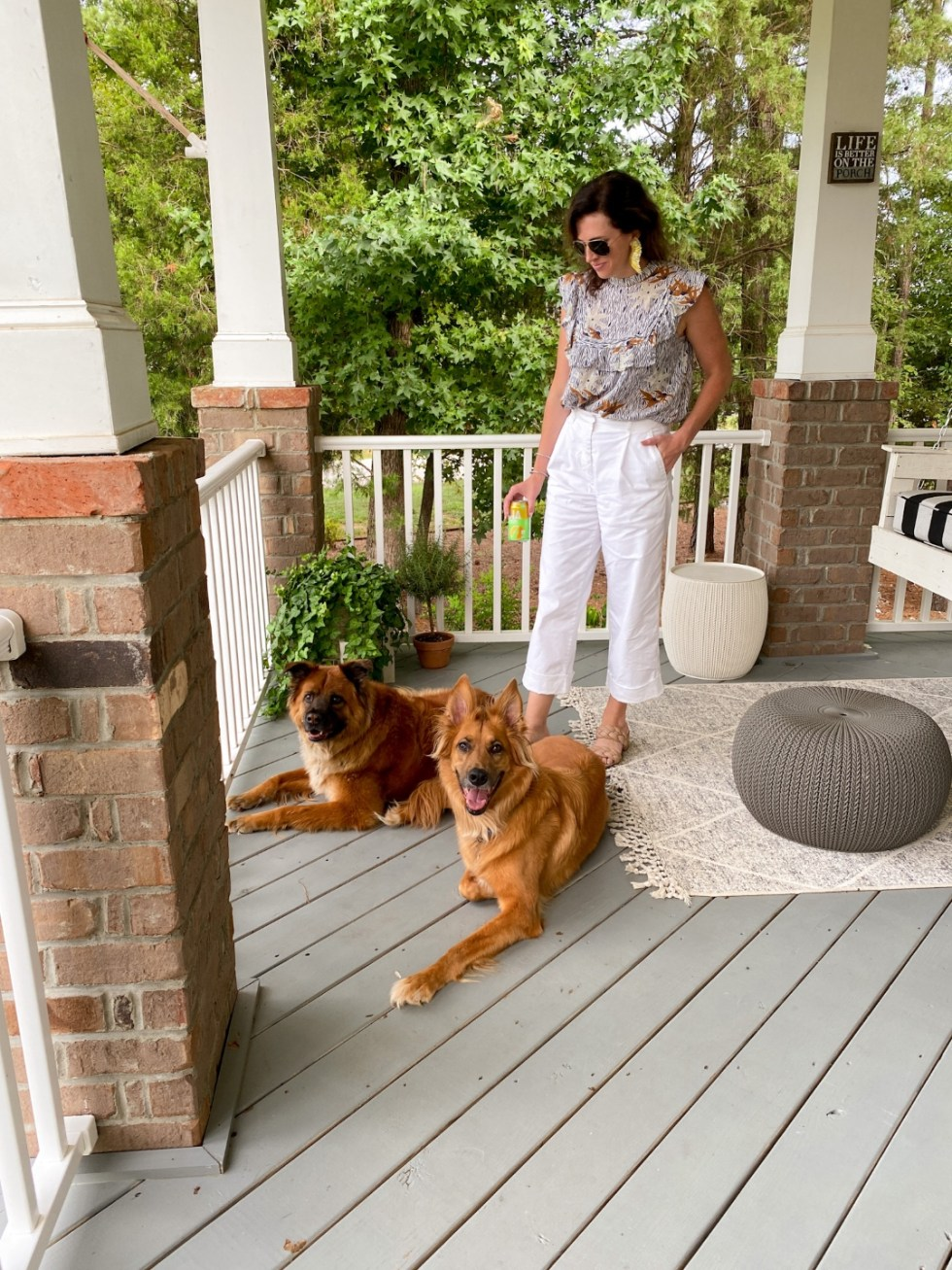 How to Wear White After Labor Day - I'm Fixin' To - @imfixintoblog   White After Labor Day by popular NC fashion blog, I'm Fixin' To: image of a woman wearing a white floral print top with white cropped pants.