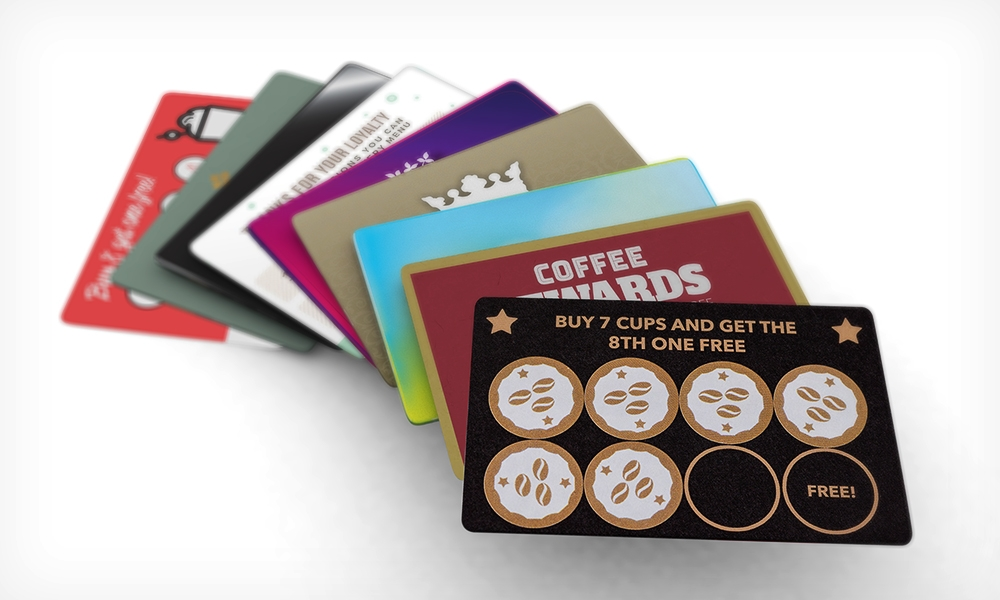 a stack of different loyalty cards