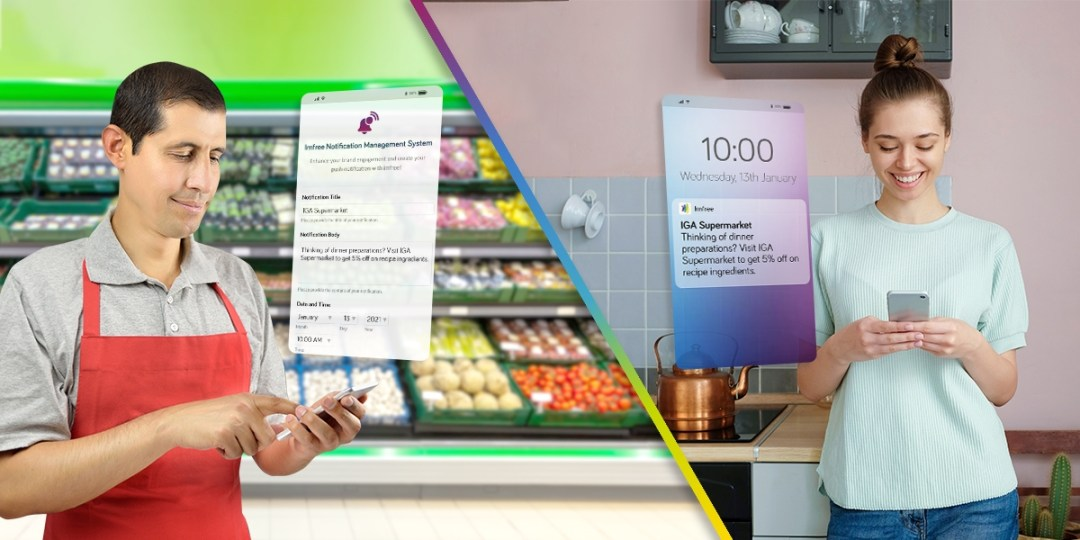 grocery staff uses Imfree's push notification to send deals to customers at home at 10am