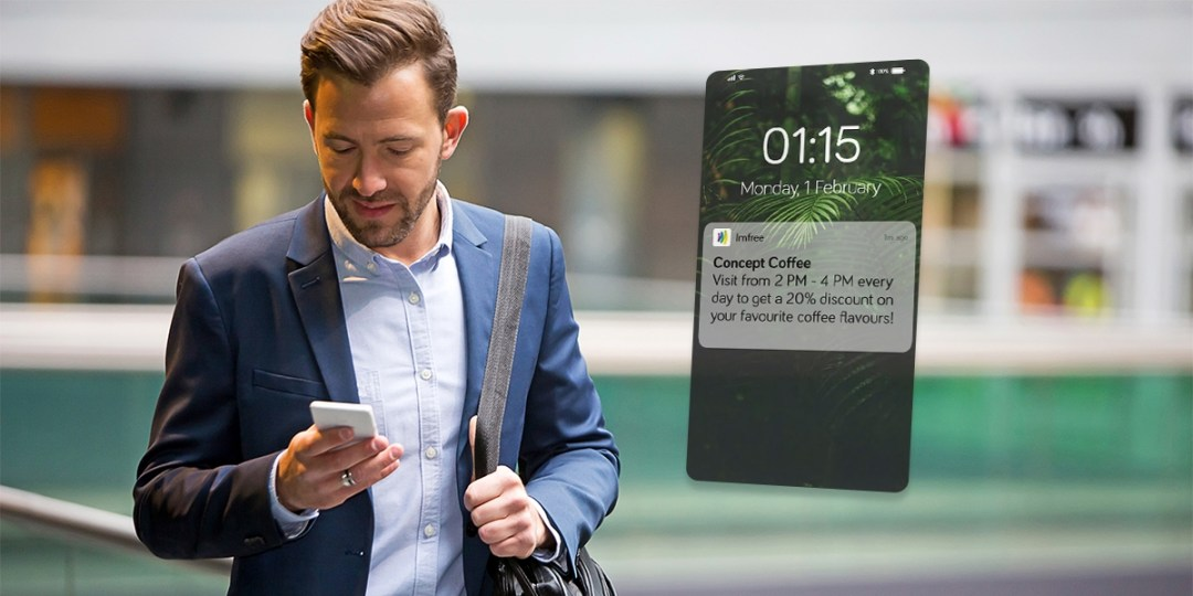 a man receives a push notification for a cafe's recurring discount