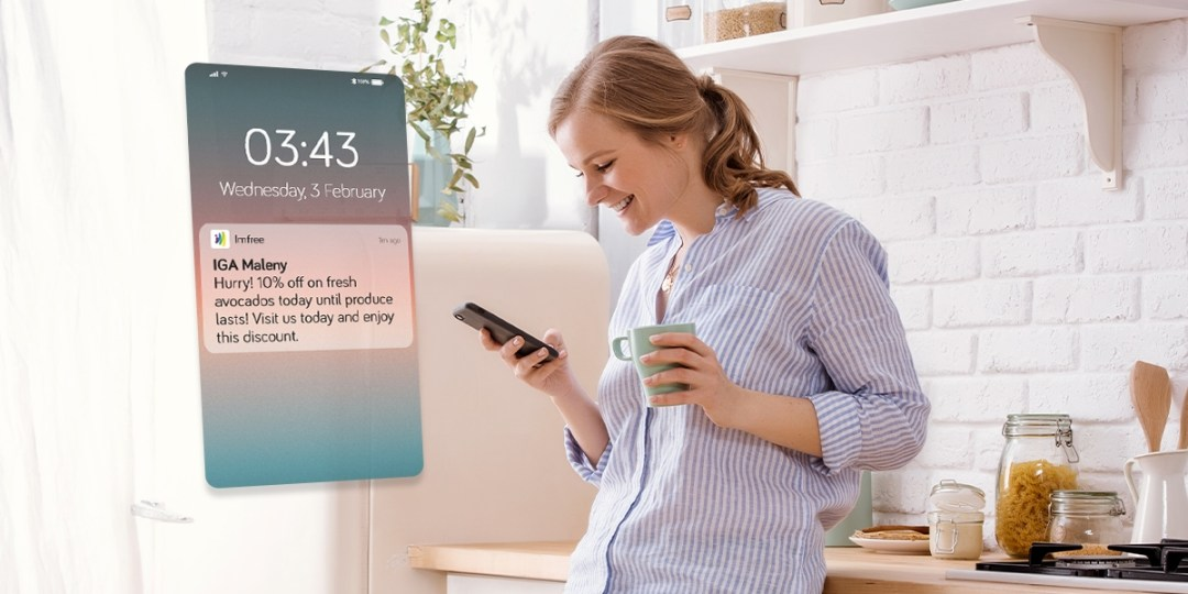 Imfree's push notification for a grocery's limited-time flash sale offer