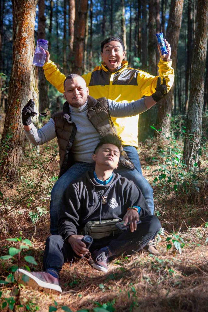 Enjoying in the Pine Forest nearby our Camp