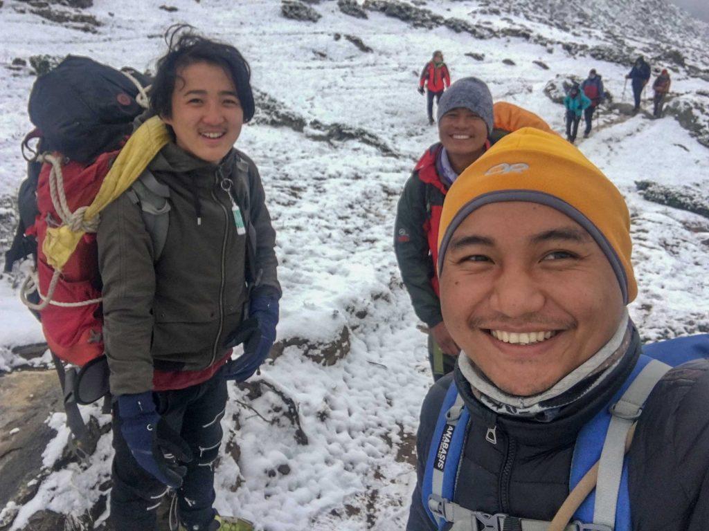 Walking on snow towards Lobuche from Dingboche