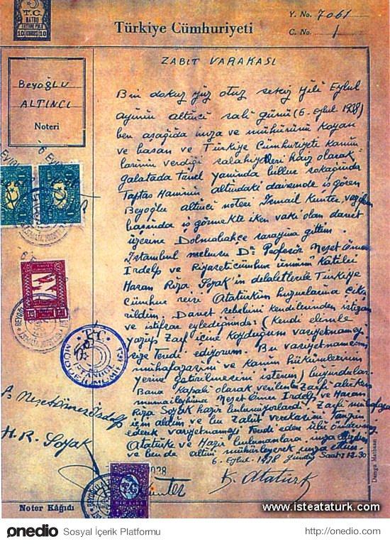 5 Eylül 1938 / ''Vasiyet''