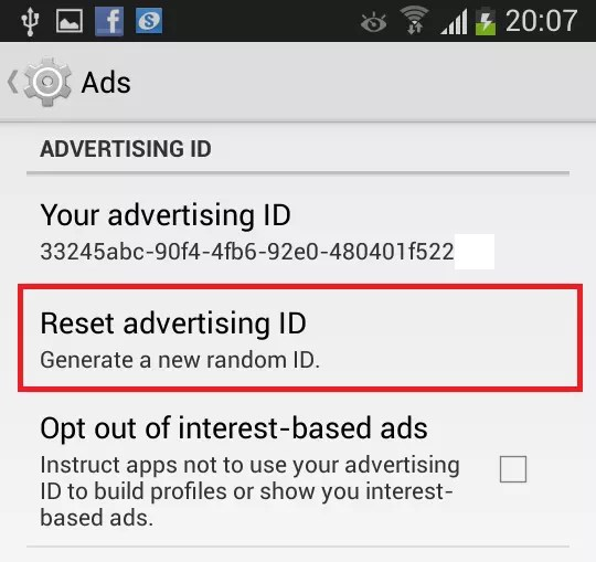 android reset your advertising