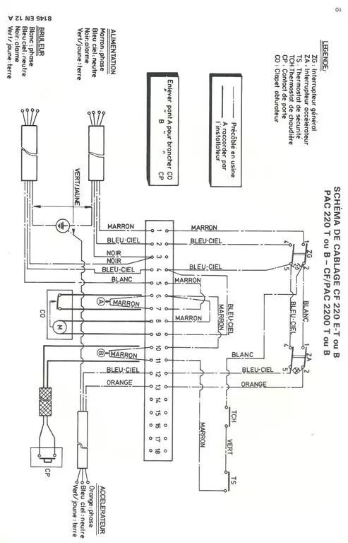 Branchement thermostat ambiance chaudiere DeDietrich