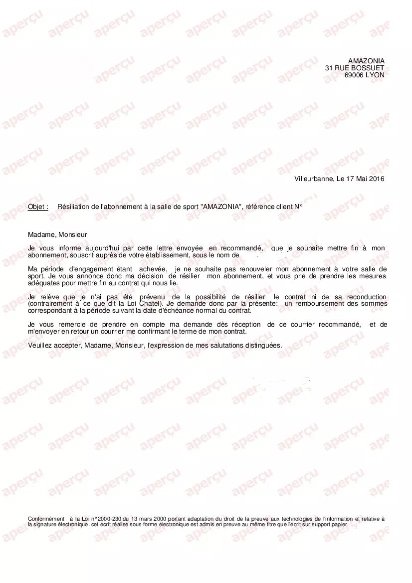 Lettre Resiliation Abonnement Amazonia All New Resume Examples