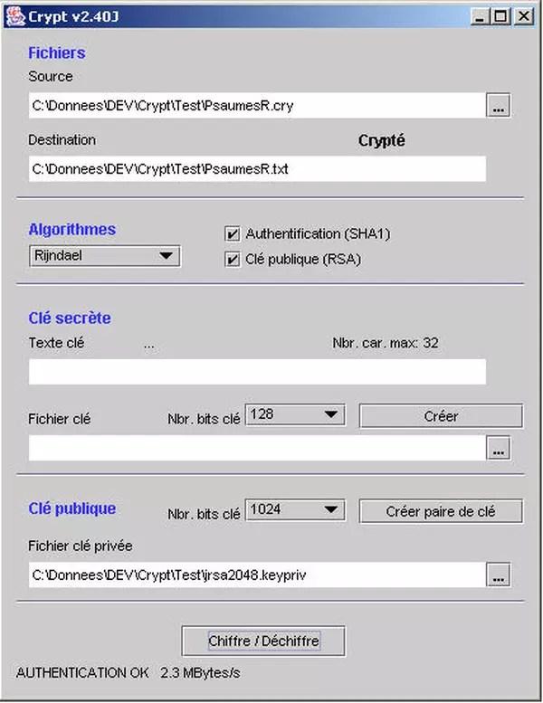 Java : Application complète pour crypter des fichiers (rijndael. rsa. sha1) - CodeS SourceS