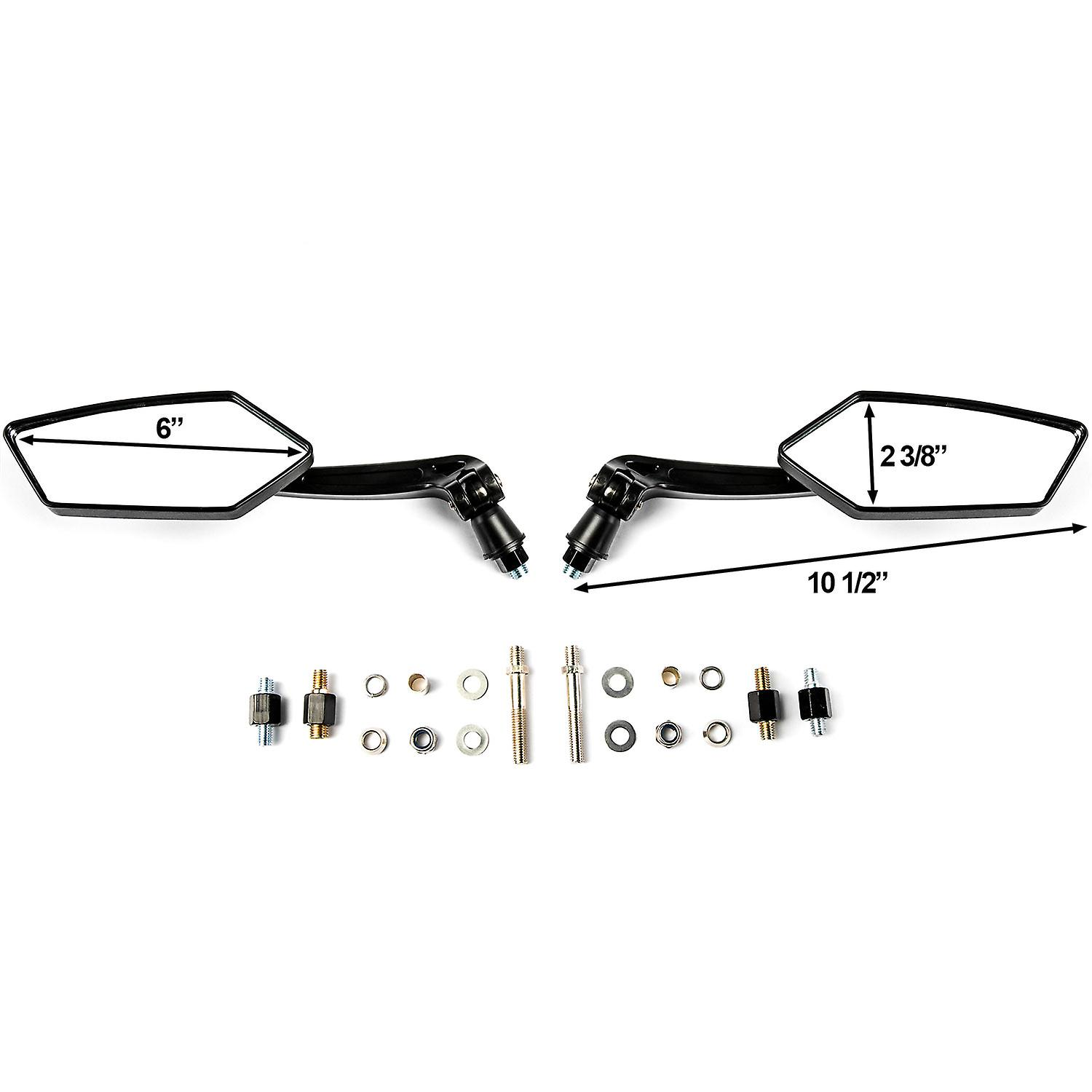 Custom Rear View Mirrors Black Pair w/Adapters For