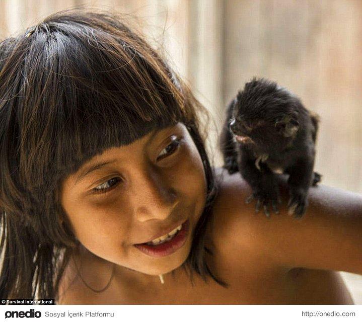 Küçük bir çocuk ailesinin evcilleştirdiği hayvan ile. Bu hayvanlar vahşi doğaya geri bırakıldıklarında bile kabilenin bir üyesi sayılıyorlar.