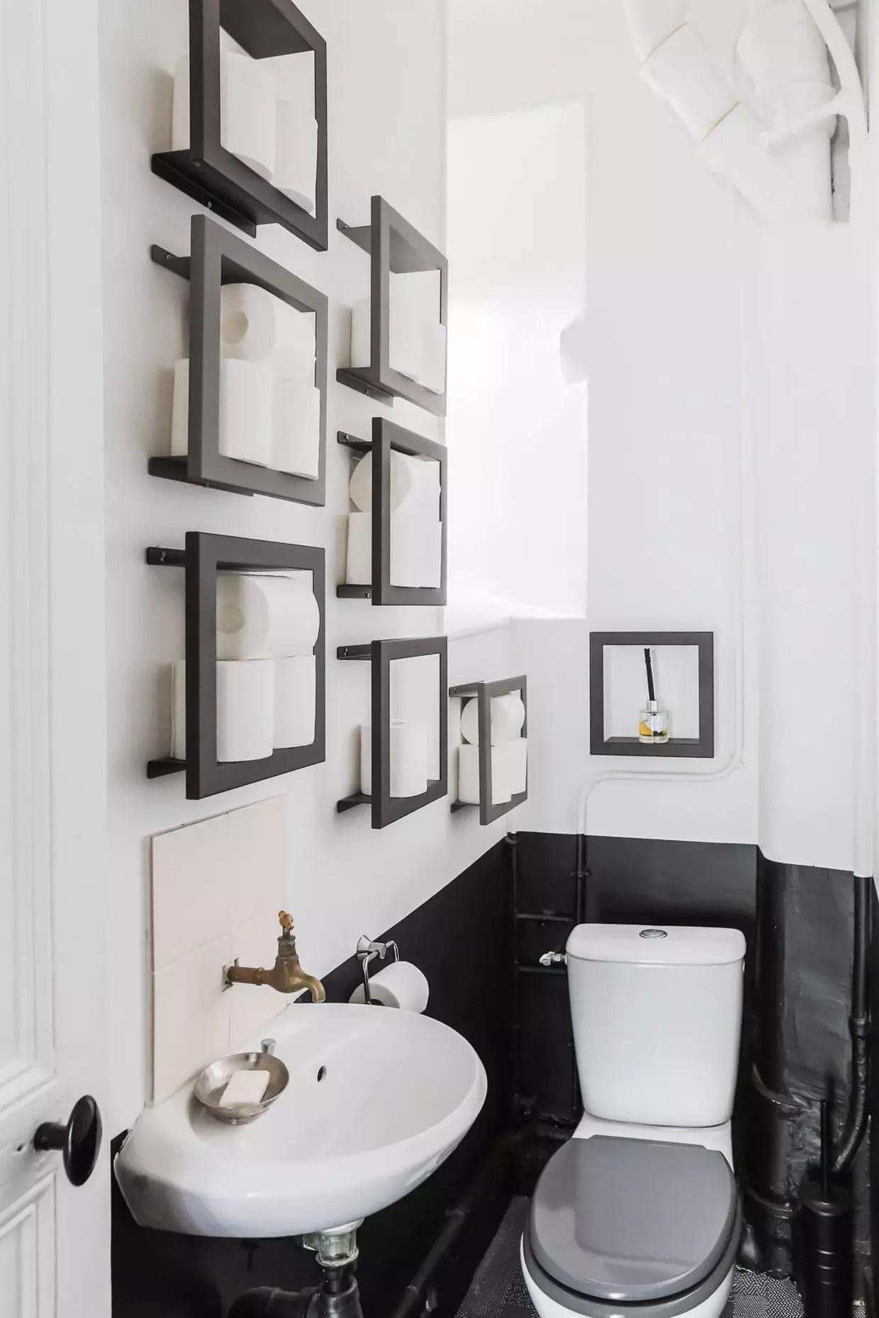 Toilettes noir et blanc