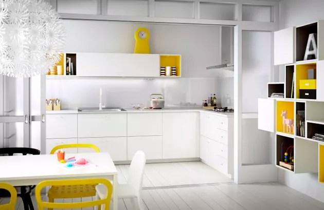 Veddinge cuisine blanche et jaune dIKEA