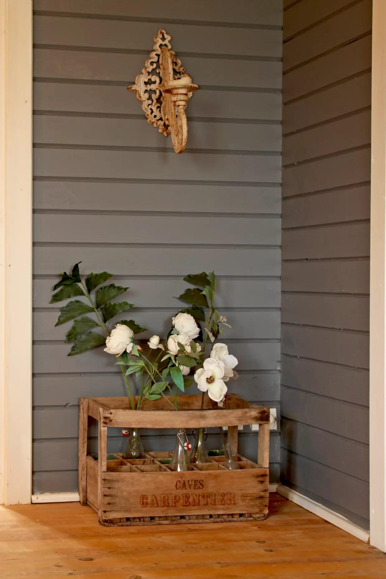 Caisse en bois florale