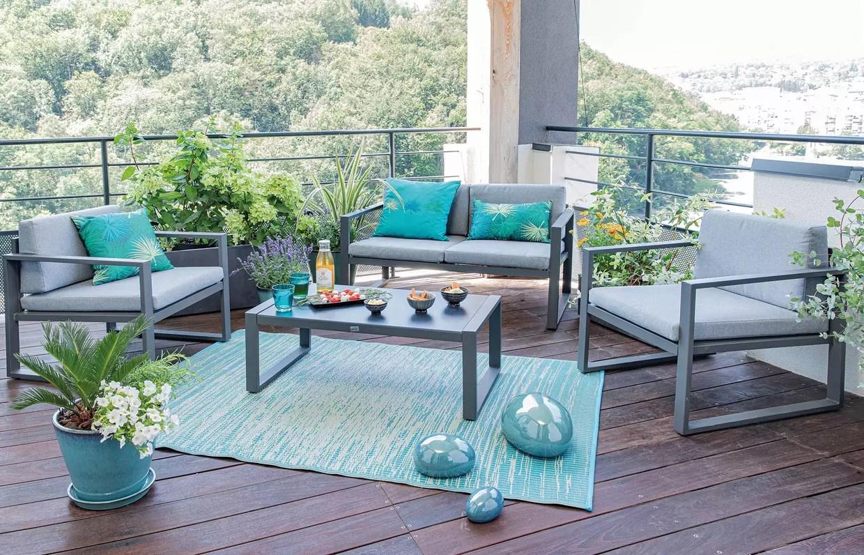 salon de jardin en aluminium gris botanic