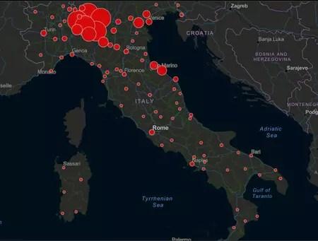 carte cas coronavirus italie