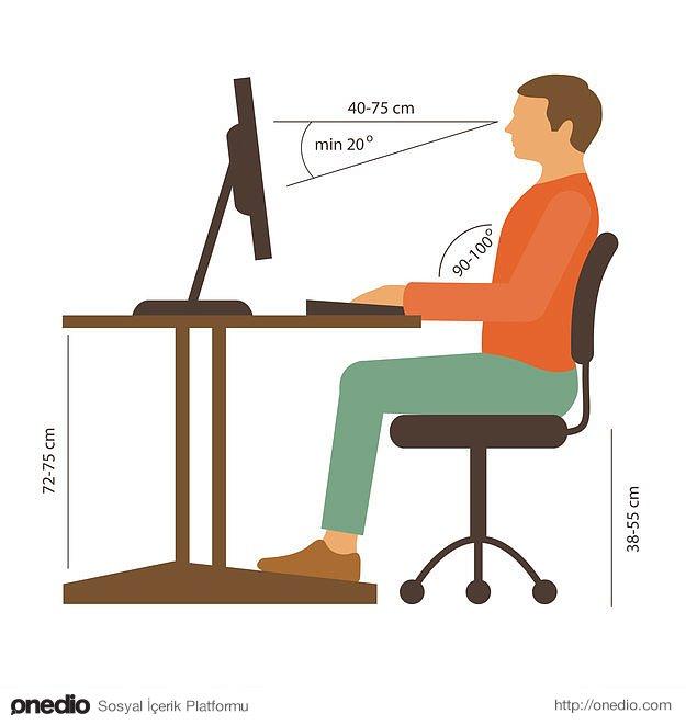 Özellikle masa başında çalışıyorsanız vücudunuzun duruşuna dikkat edin.
