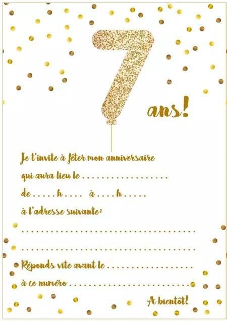 carte d invitation d anniversaire 7 ans