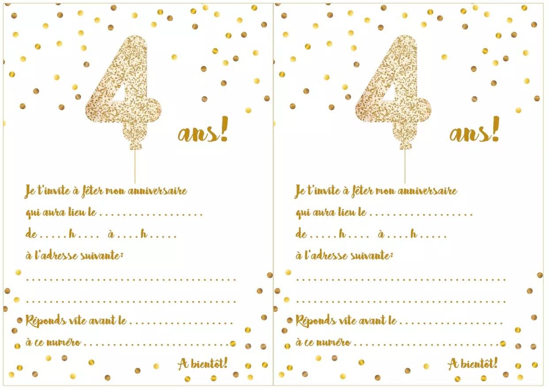 carte d invitation d anniversaire 4 ans