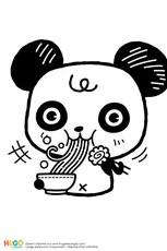 Coloriage Le burger du panda en mode kawaii en Ligne