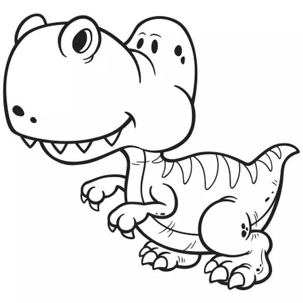 Coloriage Dinosaure gentil en Ligne Gratuit à imprimer