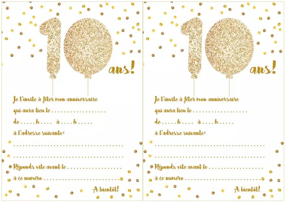 carte d invitation d anniversaire 10 ans