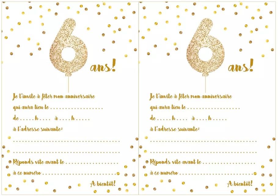 carte d invitation d anniversaire 6 ans