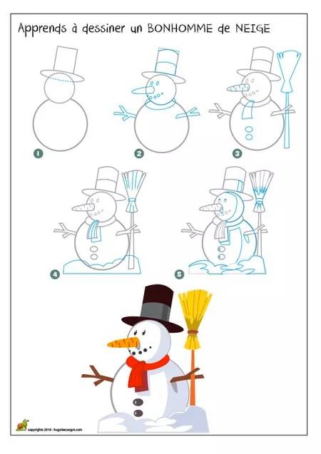 Dessin D'un Bonhomme De Neige : dessin, bonhomme, neige, Dessiner, Bonhomme, Neige