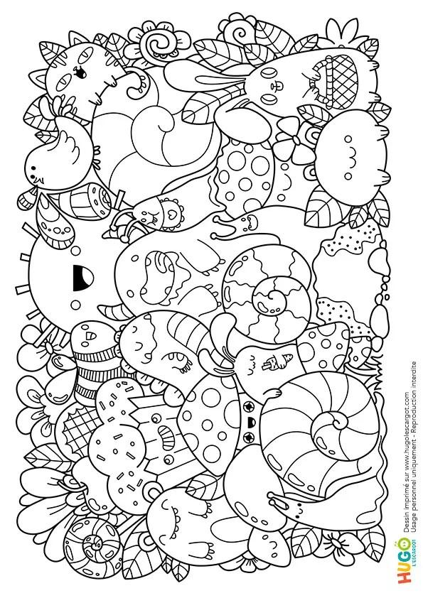 Coloriage Personnages et animaux kawaii en Ligne Gratuit à