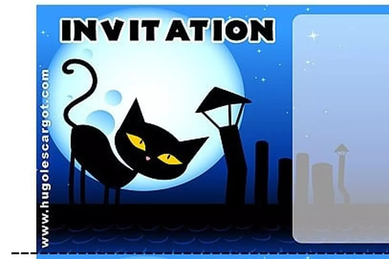 carte invitation anniversaire chat noir