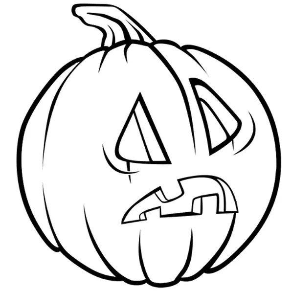 Coloriage Citrouille d'Halloween étonnée en Ligne Gratuit