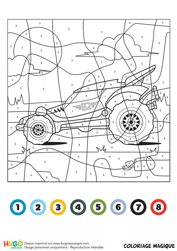 Coloriage magique CE1 : un buggy