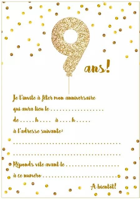 Texte Anniversaire 9 Ans : texte, anniversaire, Carte, D'invitation, D'anniversaire