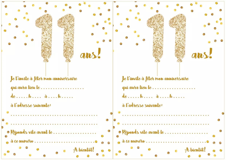 carte d invitation d anniversaire 11 ans