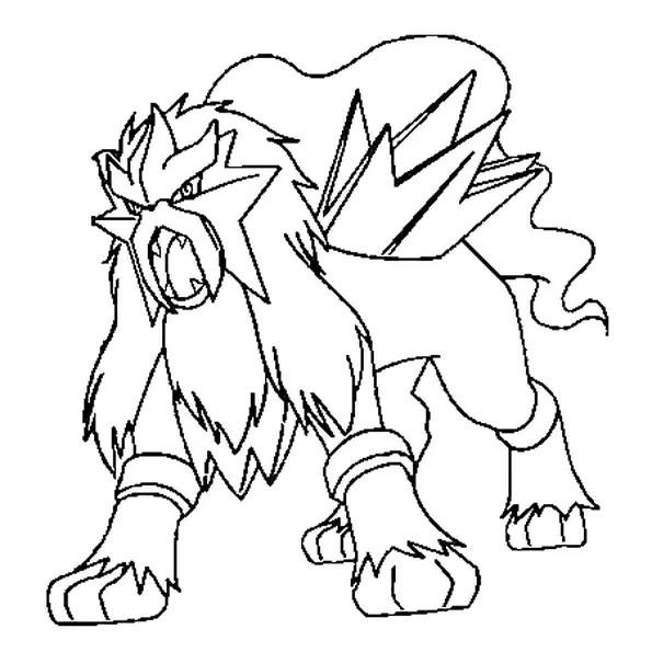 Coloriage Pokémon entei en Ligne Gratuit à imprimer