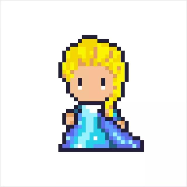Pixel art Elsa la Reine des Neiges