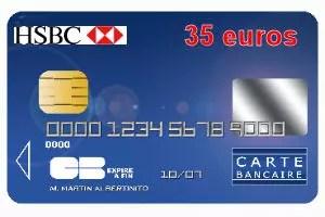 17e HSBC Avec Une Carte Bleue Visa 35 Euros Par An