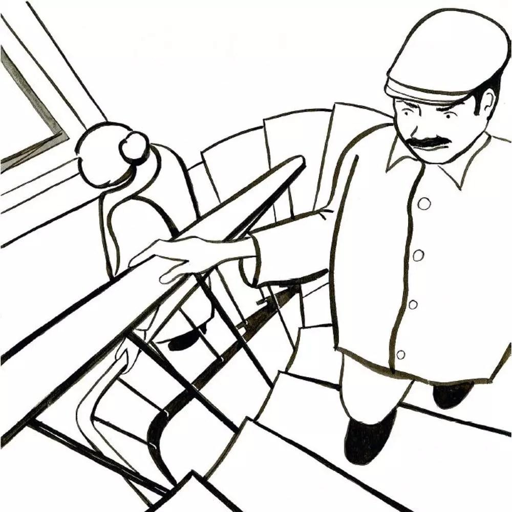 Croiser une personne dans l'escalier