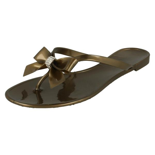 Jelly Toe Post Flip Flops With Bow Diamante Trim Fruugo