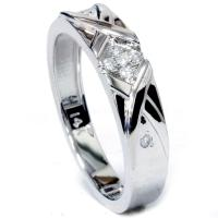 Mens Diamond Cross Ring 14K White Gold