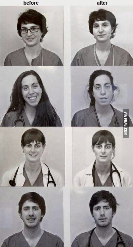 Doctors before and after 24h shift